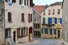 美丽的法国中世纪rodemack村庄 库存图片