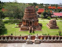 美丽的泰国寺庙、塔和菩萨法规在老历史` s泰国国家 库存照片
