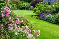 美丽的浅粉红色的玫瑰园 库存图片