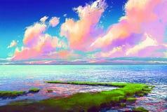 美丽的海在五颜六色的天空下 免版税库存图片