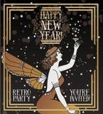 美丽的海报艺术装饰样式的新年快乐用神仙的妇女饮用的香槟 皇族释放例证