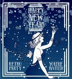 美丽的海报艺术装饰样式的新年快乐用神仙的妇女饮用的香槟 向量例证