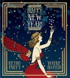 美丽的海报艺术装饰样式的新年快乐 皇族释放例证
