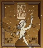 美丽的海报艺术装饰样式的新年快乐 向量例证
