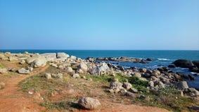 美丽的海挥动在kanyakumari 印度 库存图片