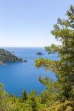 美丽的海湾在有大海和杉树的爱琴海在山 免版税库存图片