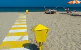 美丽的海滩在意大利-夏季 库存照片