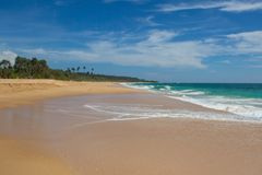 美丽的海滩 好的热带海滩看法与棕榈的 库存图片