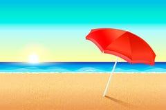美丽的海滩 日落或黎明在海的海岸 在沙子的红色伞架 在海洋的太阳集合 向量例证