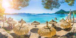 美丽的海滩Playa de福门特拉岛,帕尔马马略卡,西班牙 免版税库存图片