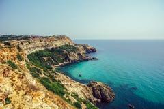 美丽的海角海游艇山 库存图片