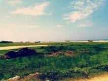 美丽的海滩在喀拉拉,印度 免版税库存照片