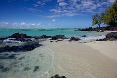 美丽的海滩在毛里求斯 库存照片