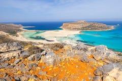 美丽的海滩在Balos盐水湖,克利特 免版税库存照片