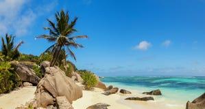 美丽的海滩塞舌尔群岛,海岛拉迪格岛, Anse银来源d的` 免版税图库摄影