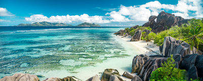 美丽的海滩塞舌尔群岛 库存照片