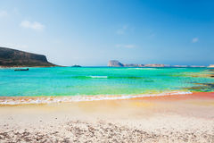 美丽的海滩盐水湖,克利特,希腊 库存照片