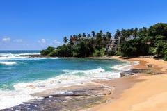 美丽的海滩, Tangalle,斯里兰卡 免版税库存照片