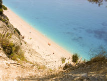 美丽的海滩Egremni在莱夫卡斯州希腊 免版税图库摄影