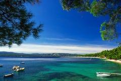 美丽的海滩Zlatni鼠在克罗地亚 库存图片