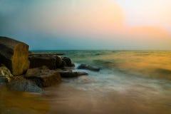美丽的海longexprosure 免版税库存图片