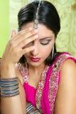 美丽的深色的印第安纵向妇女 免版税库存图片