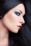 美丽的深色的女孩。 长的头发 免版税库存照片