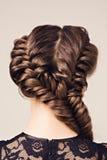 美丽的深色的女孩发型纵向 免版税库存图片