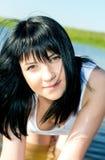 美丽的深色的女孩纵向年轻人 库存图片