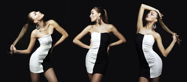 美丽的深色的妇女画象黑礼服的。 时尚pho 库存图片