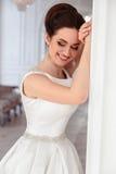 美丽的深色的新娘画象有典雅的穿长的豪华婚礼礼服的发型和构成的 免版税库存图片