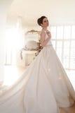 美丽的深色的新娘画象有典雅的穿长的豪华婚礼礼服的发型和构成的 库存图片
