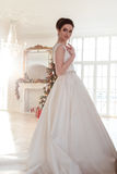 美丽的深色的新娘画象有典雅的穿长的豪华婚礼礼服的发型和构成的 库存照片