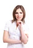 美丽的深色的衬衣白人妇女年轻人 免版税库存照片
