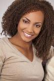 美丽的混合的族种非裔美国人女孩 免版税库存照片