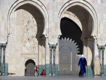 美丽的清真寺哈桑二世面对阳光的一个建筑杰作 库存图片