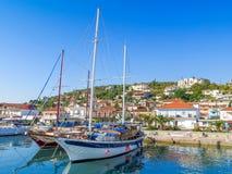 美丽的港口在沃洛斯,希腊 库存图片