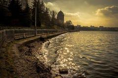 美丽的湖在乌克兰 库存照片