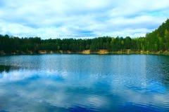 美丽的湖在森林里 图库摄影