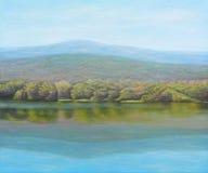 美丽的湖油画  免版税库存图片