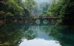 美丽的湖,老桥梁在森林里 库存照片
