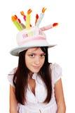 美丽的滑稽的女孩帽子 免版税库存图片