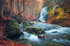 美丽的瀑布在克里米亚半岛山的秋天森林里在太阳 库存照片