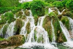美丽的瀑布在国家公园Plitvice湖,克罗地亚 图库摄影