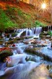 美丽的瀑布在日落的森林里 库存图片