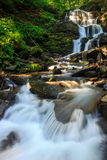 美丽的瀑布在森林里从一个巨大的岩石出来 库存照片