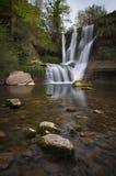 美丽的瀑布在森林里 免版税库存图片