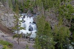美丽的瀑布在黄石国家公园 库存照片