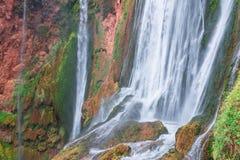 美丽的瀑布在Ouzoud, Azilal,摩洛哥 盛大地图集 免版税库存照片