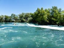 美丽的瀑布在Plitvice湖在Hrvatia 免版税库存图片